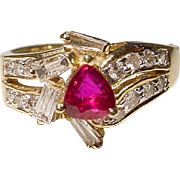 Most Elegant Ruby Diamond Ring 14 KT Y-Gold - Most Vivid Red Ruby - Vintage 70's