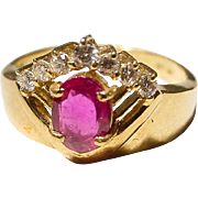 Georgian Style Ruby Diamond Ring 18K Y-Gold - Old Vivid Red Ruby - Vintage 60's