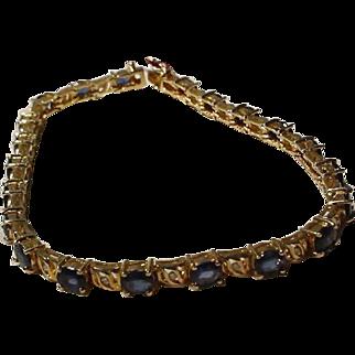 Blue Sapphire & Diamond Bracelet 14KT Yellow Gold Tennis Style - Timeless Vintage