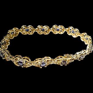 """Beautiful Sapphire Bracelet w/ Diamonds 14K Y-Gold - Classic Florals - 7-1/4"""" Vintage"""