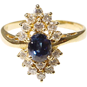 Blue Sapphire & Diamond Ring 18KT Yellow Gold Fine Stones - Elegant Ring -Vintage