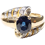 Blue Sapphire Diamond Ring 18 KT Y-Gold - Beautiful Band