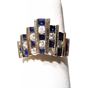 Amazing Blue Sapphire Diamond Ring 14 KT Y- Gold - Art Deco Architectural Designs Unique