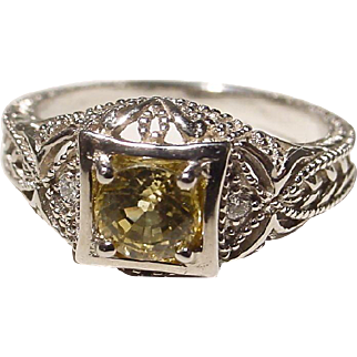 Antique Yellow Sapphire Diamond Ring 14K W-Gold - Sweet Filigree of 20's