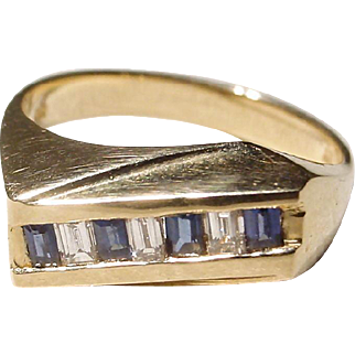 Nice & Neat Sapphire Diamond Ring 14 KT Y-Gold - Anniversary Band - Great Gems