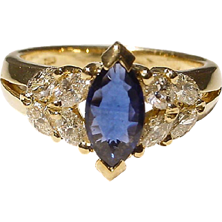 Elegant Sapphire Diamond Ring 18K Y-Gold Lovely Marquises - Vintage 60's