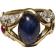 Blue Sapphire Bold Ring with Gems 14KT Yellow Gold Band - Art Deco Style - Unique Large Cabochon