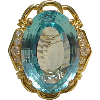 Classic Filigree Blue Topaz Ladies Ring with Diamonds and 14 KT Yellow Gold