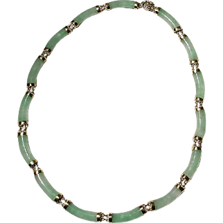 Rare Old Green Jade Necklace 14K Y-Gold Fine-Fit 18 Inches - Mid Century