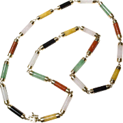 Rare Natural Multi-Colored Jade Necklace 14K Y-Gold Finest Quality - Mid Century