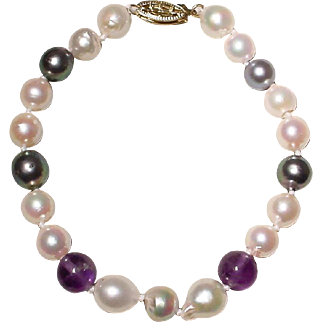 "Mixed Akoya Cultured Pearl Bracelet 14K Filigree Clasp - With Amethysts - 7.5"" - Vintage"