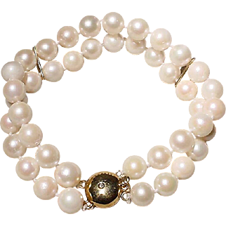 "Double Akoya Cultured Pearl Bracelet 14K Y-Gold Clasp - 7 MM - 7"" - Vintage"