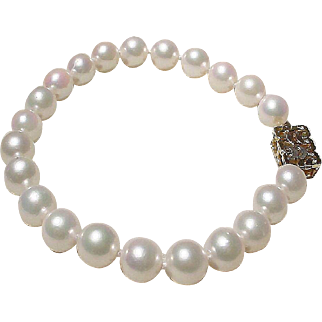 "Lovely Akoya Cultured Pearl Bracelet 14K Tri-Colored G Clasp - 7.5 MM 7-3/8"" - Vintage"
