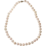 """Great Size 10.5 MM Akoya Cultured Pearl Necklace 14K Y-Gold Clasp 18"""" Semi-Baroques - Mirror Luster Shine"""