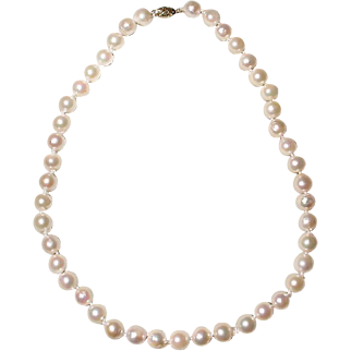 "Great Size 10.5 MM Akoya Cultured Pearl Necklace 14K Y-Gold Clasp 18"" Semi-Baroques - Mirror Luster Shine"