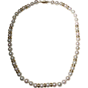 """Akoya Cultured Pearl Necklace Gray Pearls & Beads 14KT 7 MM Rarest Silver Gray Pearls 16"""" - Vintage"""