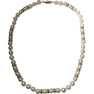 "Akoya Cultured Pearl Necklace Gray Pearls & Beads 14KT 7 MM Rarest Silver Gray Pearls 16"" - Vintage"