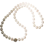 "Classic Akoya Cultured Pearl Necklace 14K Filigree Ball Clasp - Great Size 9 MM 21-3/4"" - Vintage"