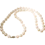 Great Size 9 MM Akoya Cultured Pearl Necklace 14K Y-Gold Clasp Nicely Matinee 22""