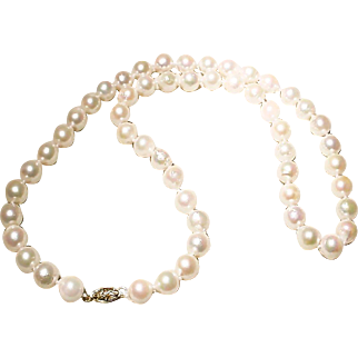 """Great Size 9 MM Akoya Cultured Pearl Necklace 14K Y-Gold Clasp Nicely Matinee 22"""""""