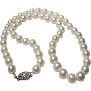 "Akoya Cultured Pearl Necklace 14K WG Clasp 7 MM 16-1/2"" - Classic White Lovely Vintage"