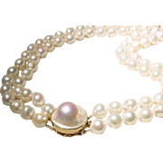 "Beautiful Double Cultured Akoya Pearl Necklace w/ Blister Pearl 14 KT Y- Gold Clasp - Bold 9 MM - Matinee 24"" & 26"""