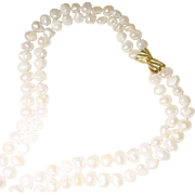 """Display Cultured Fresh Water Biwa Pearl Necklace w/ 14KT Yellow Gold Clasp - Natural White Double Strands Graduated 13-9 MM - 24"""" & 28"""""""
