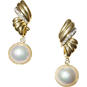 Dangling Cultured Mabe Pearl Diamond Earrings 18 KT Y-Gold with Diamonds - 14 MM Pearls Among the Best