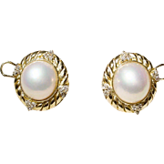 Most Classic Mabe Pearl Earrings - Diamonds & Gold - 18 KT Y- Gold Filigree - Vintage 70's