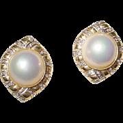 Designer Mabe Pearl Earrings - Diamonds & Gold - 14 KT Yellow Gold Filigree - Fabulous