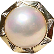 Metro Ring Huge Cultured Mabe Pearl 14 KT Y-Gold with Diamonds - 20 MM Pearl Super Natural Luster