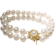 Gem Quality Double Cultured Akoya Pearl Bracelet w/ Pearl Gold Clasp 14 KT Y-Gold - 7 MM - 7""