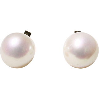 Super Sized Cultured Akoya Pearl Earrings 14 KT Y- Gold - Simple Studs 10 MM - Gem Quality - Vintage