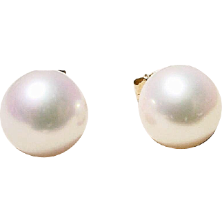 Akoya Cultured Pearl Earrings 14K Y- Gold Simple Studs 8 MM Gem Quality Classic White - Vintage