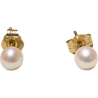 Akoya Cultured Pearl Earrings 14K Y- Gold Simple Studs 4 MM Finest - Vintage