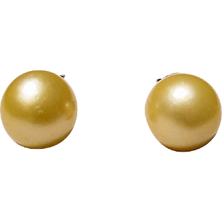 Golden South Sea Pearl Earrings Simple Studs 9.5 MM Fine Silver Setting - Vintage Old Pearls