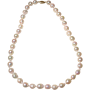 "Great Size 10.5 MM Cultured Akoya Pearl Necklace 14KT Yellow Gold Clasp 18"" Semi-Baroques - Mirror Luster Shine"