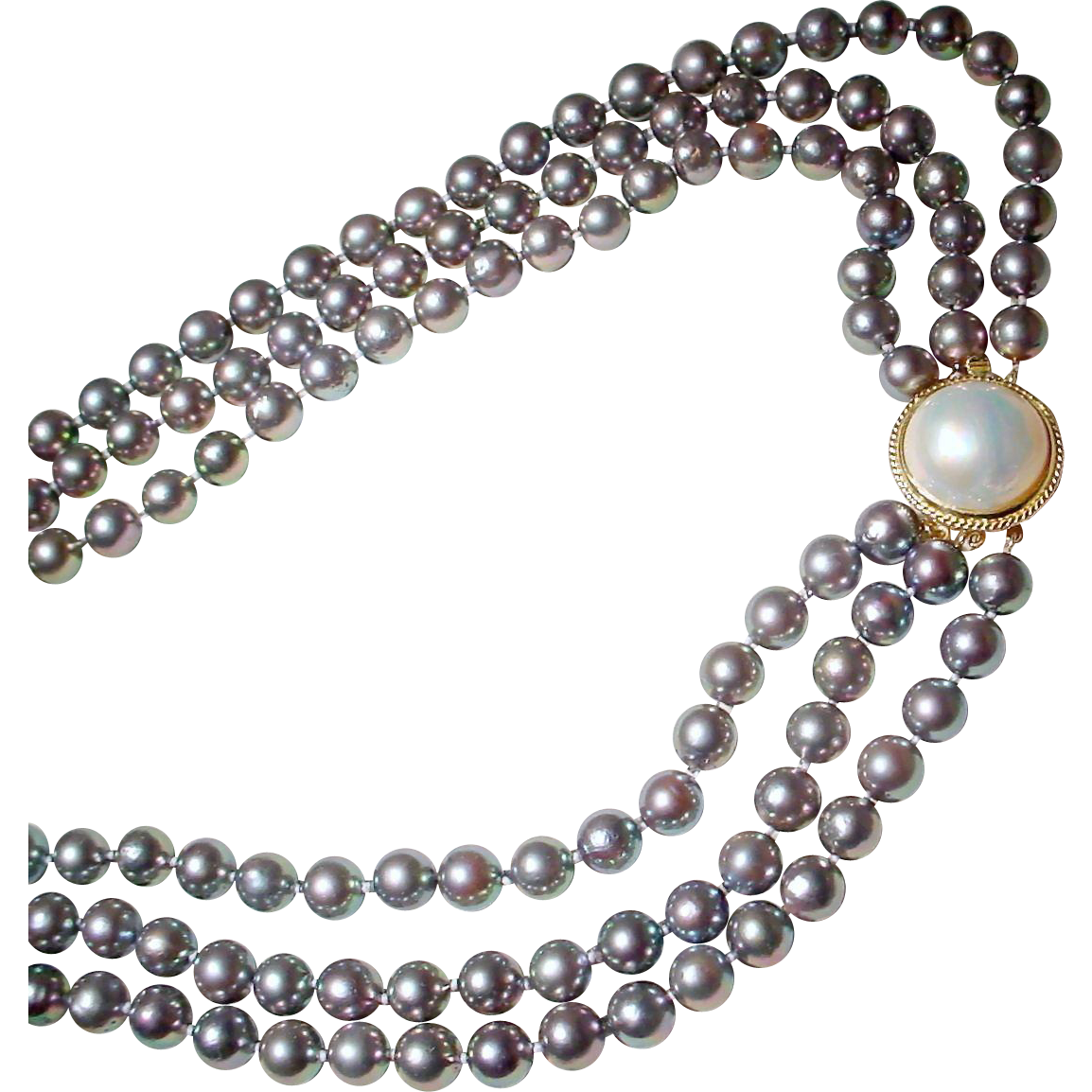 Exclusive Blue Pearls Cultured Akoya Blue Pearl Necklace With Mabe White  Pearl & 14 Kt Yellow Gold Clasp  Triple Strands  34