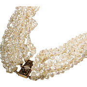 "Exquisite Fine Keish Fresh Water Pearl Necklace 14 KT Y-Gold Diamond Clasp - Extra Length 38"" Vintage 60's"