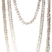 """Group Set of 3 Fresh Water Pearl Necklaces 14K Y-Gold Clasps - Mixed & Matched - 18"""" 28"""" 38"""""""