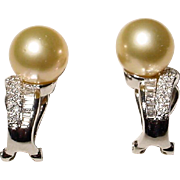 Exquisite Golden South Sea Pearl  Diamond Earrings 18 KT W-Gold - Extra Fine Pearls
