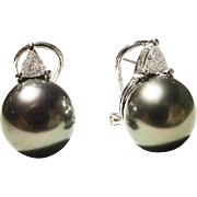 Top Gems Tahitian Black Pearl Diamond Earrings 18K W-Gold - 10 MM - Most Elegant