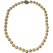 Luscious & Bright Golden South Sea Pearl Necklace 14KT Yellow Gold Diamond Clasp Great Natural Glow 10 MM - 1960's