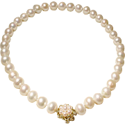 """Magnificent Beloved Pearls South Sea Pearl Necklace 14KT Gold & Pearl Clasp - Classic White 12.5 MM 18.5"""" - Vintage 1970's"""