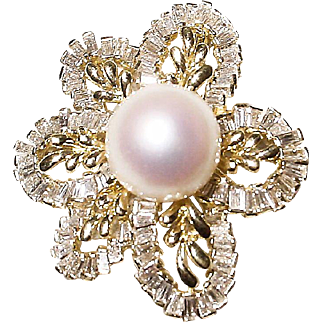 Luscious Top Gems South Sea Pearl Diamond Brooch /Pendant /Slide 18K Y- Gold - Florae Motifs Baguettes