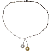 Vibrant Lariat South Sea White Pearl & Golden Pearl Pendant Necklace 18K W-Gold - Gem Pearls Diamonds - Vintage