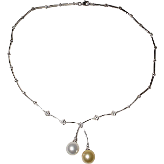 Vibrant Lariat South Sea White Pearl & Golden Pearl Pendant Necklace 18K W-Gold - Gem Pearls Diamonds - Vintage