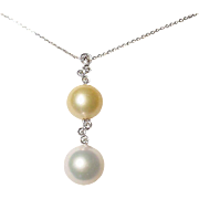 Pearly Charm Golden & White South Sea Pearl Pendant 18 KT W-Gold Diamond Bubble Flairs