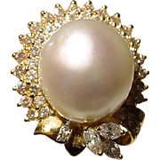 Amazingly Stunning South Sea Pearl Diamond Ring 18 KT Y- Gold - Slate Gray Pearl Round 16 MM - Vintage 1970's