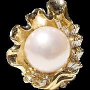 Sea-Shell Floral South Sea Pearl & Diamond Ring 18 KT Y-Gold - Fine Baguette Diamonds - Vintage 70's Set